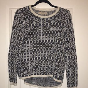Ann Taylor LOFT Blue and White Sweater